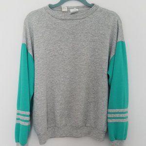 Vintage 1980s Gray Green Athletic Sweatshirt M USA